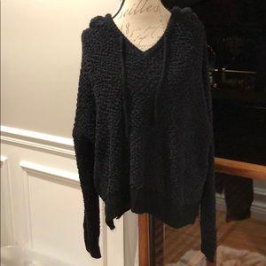 hippie love Tops - Knitted black hoodie
